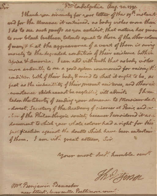 correspondence with thomas jefferson | banneker watches & clock